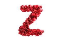 Red roses letter Z, isolated on white background Stock Illustration