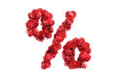 Stock Illustration of Red roses symbol % isolated on white background