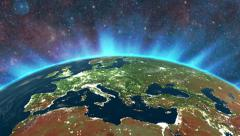 Highly detailed sunrise in space. Europe city lights Stock Footage