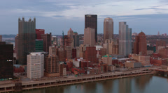 Time lapse of Pittsburgh Skyline at Sunset (24p) - stock footage