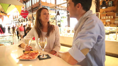 couple eating spanish food in madrid - stock footage