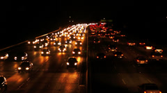 Night traffic at highway. Car lights at night.  Cars traffic on highway at night Stock Footage