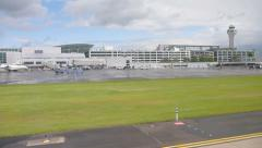 Portland Oregon Airport from Runway 1 Stock Footage