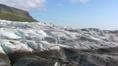 Ice dirty with sediments in the glacier foot - ablation zone Stock Footage