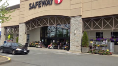 Safeway Entrance Showing Logo On Building Facade - stock footage