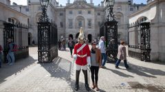 Time-lapse of a member of the Household Cavalry outside Horse Guards parade  - stock footage