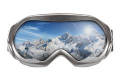 ski goggles with reflection of mountains isolated on white - stock illustration