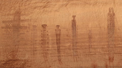 Pictographs Canyonlands National Park Maze Area Harvest Panel Holy Men Scene 2 Stock Footage