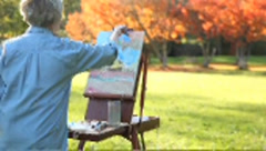 Caucasian senior woman painting scenery in park, Vancouver, British Columbia, Stock Footage