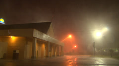 Intense rain and wind from a nighttime supercell Stock Footage