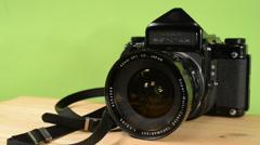 Green screen asahi pentax camera, panning Stock Footage