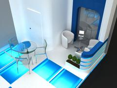 Stock Illustration of Exhibition Stand Interior / Exterior Sample