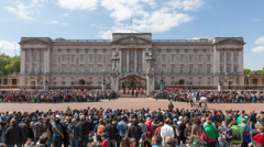 Time-lapse of the changing of the Guard at Buckingham Palace Stock Footage
