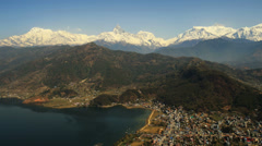 Aerial View: Flight over the mountains, Pokhara city, Annapurna area, Nepal. Stock Footage