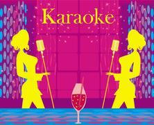 Stock Illustration of karaoke night, abstract illustration with microphone and singer