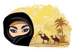 Stock Illustration of arabian woman in the desert
