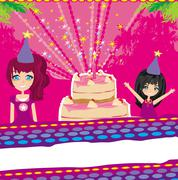 a vector illustration of kids celebrating a birthday party - stock illustration