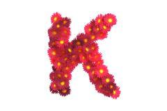 Red flower letter K isolated on white backround - stock illustration