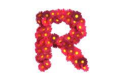 Stock Illustration of Red flower letter R isolated on white backround