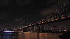 New York City - Manhattan Bridge at Night - NYC Stock Footage
