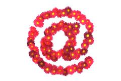 Stock Illustration of Red flower symbol isolated on white backround