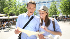 Tourists walking in santa ana square, madrid Stock Footage
