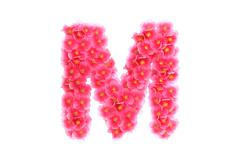 Pink violets letter M - stock illustration