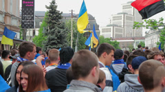 Football fans on the march reunification Stock Footage