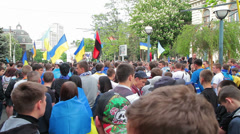 Football fans on the march reunification - stock footage