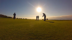 Playing golf silhouette Stock Footage