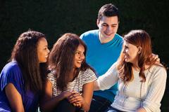 international group of friends interacting - stock photo