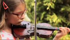 Hispanic girl with red eyeglasses playing violin Stock Footage