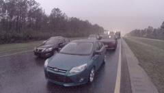 Flooded highway shut down stranded cars Stock Footage