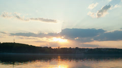 Beautiful summer sunset in the lake Stock Footage