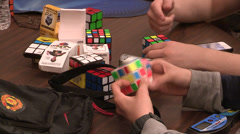 Rubik's cube speedcubing event Stock Footage