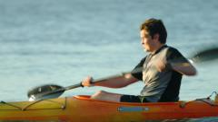 Kayaker paddling close up 4k stock video clip Stock Footage