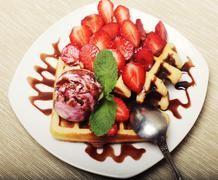 waffles with strawberry and ice cream - stock photo