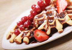 waffles with strawberry and blackberry - stock photo