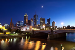Melbourne Cityscape Sunrise Hyperlapse Stock Footage