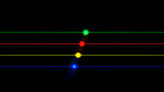 Stock Video Footage of Red, green, yellow and blue lines with circles on them, lens flares guitar style