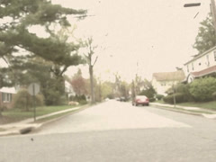 Stylized Vintage Driving Past Classic Cars Stock Video Stock Footage