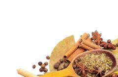 Spices border - stock photo