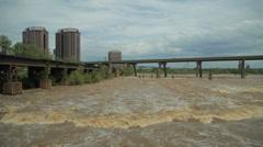 Richmond, VA - Flooding James River Stock Footage