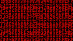 Matrix with moving red decimal code numbers 13 Stock Footage