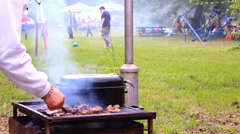 Stock Video Footage of BBQ picnic  smoked grill barbecue,Picnic Eating Outdoor Dining