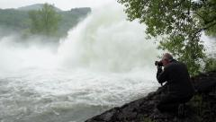 Open dam discharged a large amount of water,close up,tilt up - stock footage