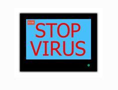 Stock Illustration of slogan stop virus  on television screen