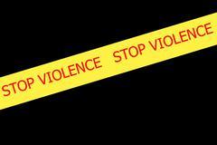 slogan stop violence on yellow tape - stock illustration