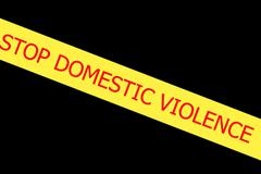 slogan stop domestic violence  on yellow tape - stock illustration