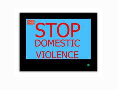 slogan stop domestic violence  on television screen - stock illustration